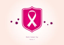 World Cancer Day vector. Vector illustration of a shield with ribbon. Important day Stock Photos