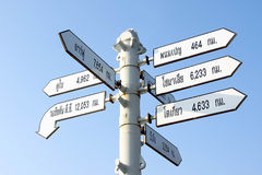 World Capital Cities Signpost,Thailand Stock Image
