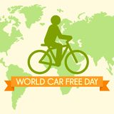 World car free day with bicycle background, flat style. World car free day with bicycle background. Flat illustration of world car free day with bicycle stock illustration