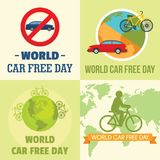 World car free day walking banner set, flat style. World car free day walking environment banner concept set. Flat illustration of 4 World car free day walking royalty free illustration