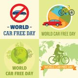 World car free day walking banner set, flat style. World car free day walking environment banner concept set. Flat illustration of 4 World car free day walking stock illustration