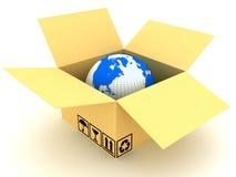 World in a cardboard box Stock Photo