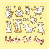 World Cat Day Card with cats on textured background. World Cat Day Card with funny cat muzzles on textured background. Vector illustration Stock Photography