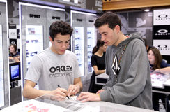 World champion motocycle racer Marc Marquez. Autograph signing in shopping center on December 9, 2014 in Barcelona, Spain Royalty Free Stock Photos