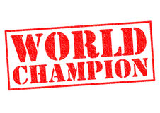 WORLD CHAMPION. Red Rubber Stamp over a white background royalty free stock photo