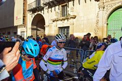 The world Champion In The Streets Of Alicante. Alejandro Valverde wearing he rainbow shirt of the World champion, waits in the narrow street before the start the royalty free stock photo
