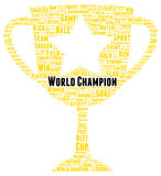 World champion word cloud shape Royalty Free Stock Images