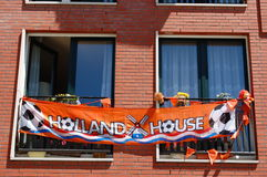 World championship football. Dutch house supporting football with an orange banner Royalty Free Stock Image