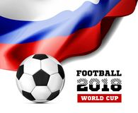 World Championship Football 2018 Background Soccer Russia with flag and football ball. Vector illustration Stock Image