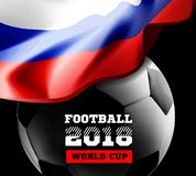 World Championship Football 2018 Background Soccer Russia with flag and football ball. Vector illustration Stock Photography