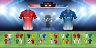 2018 World championship football cup group set, Soccer jersey mock-up and scoreboard match vs strategy broadcast graphic template Royalty Free Stock Images