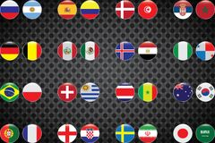 World Championship. Vector flags of the country. 2018 in Russia. World Cup. Information graph of country flags Stock Photos