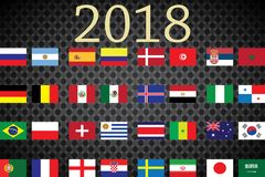 World Championship. Vector flags of the country. 2018 in Russia. World Cup. Information graph of country flags Stock Images