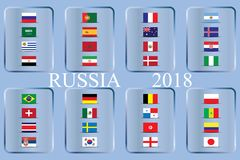 World Championship. Vector flags of the country. 2018 in Russia. World Cup. Information graph of country flags Royalty Free Stock Photo