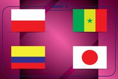 Football. Championship. Vector flags. Russia. Group H. World Championship. Vector flags of the country. 2018 in Russia. World Cup. Information graph of country Royalty Free Stock Images