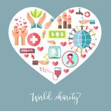 Charity 111. World charity heart poster for social help and volunteering. Vector icons for blood donation or money foundation, charity help and healthcare stock illustration