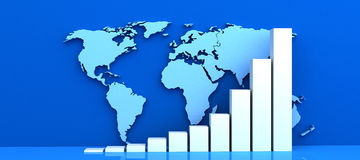 World chart. The bar chart. A world map. Continents on a blue background. High-quality 3d render Stock Photos