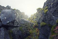 World chasm in Iceland. In autumn Royalty Free Stock Image