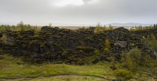 World chasm in Iceland. In cloudy day Royalty Free Stock Images