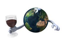 World cheers with red wine. The world cheers with a glass of red wine Royalty Free Stock Photography