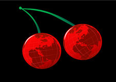 World Cherries. Illustration with stems on black background Royalty Free Stock Image