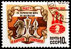 World Chess Championship, circa 1985. MOSCOW, RUSSIA - MAY 25, 2019: Postage stamp printed in Soviet Union (Russia) devoted to World Chess Championship, circa stock photos