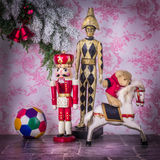 World of child. Wooden toys in Christmas ambiance. royalty free stock image