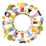 World of childhood. Children of the planet holding hands in a circle Royalty Free Stock Photo