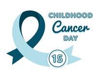 World Childhood Cancer Day emblem. Isolated raster illustration on white background. 15 february international medical healthcare holiday event label, greeting Stock Illustration