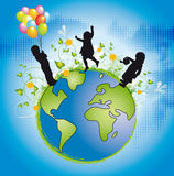 World of children. Illustration of world with silhouette children Stock Photo