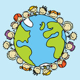 World of children. Kids around the world together save the planet earth Stock Photos