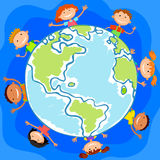 The world children in a circle kids smile white background Royalty Free Stock Images