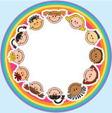 The world children in a circle kids smile white background Stock Photos