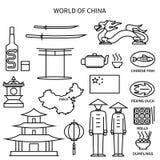 World Of China Line Icons Set Royalty Free Stock Photos