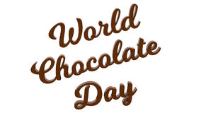 World Chocolate Day Calligraphic 3D Rendered Text Illustration Colored With Brown Chocolate Color stock illustration
