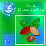 World Chocolate Day. 11 July. Cocoa fruit with leaves, beans. Series calendar. Holidays Around the World. Event of each day of the. World Chocolate Day. Concept vector illustration