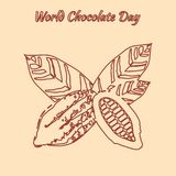 World Chocolate Day. 11 July. Contour drawing - cocoa fruit with leaves. World Chocolate Day. Concept of a delicious holiday. 11 July. Contour drawing - cocoa stock illustration