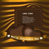 World chocolate day elegant background with hearts shaped chocolates. stock illustration