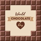 World Chocolate Day illustration. World Chocolate Day.11 July. Ð¡hocolate bars with text inside. Design for poster, banner, greeting card. Seamless background royalty free illustration