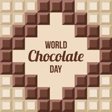 World Chocolate Day illustration. World Chocolate Day.11 July. Ð¡hocolate bars with text inside. Design for poster, banner, greeting card. Seamless background stock illustration