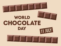 World Chocolate Day illustration. World Chocolate Day.11 July. Ð¡hocolate bars with text. Design for poster, banner, greeting card. Vector color illustration vector illustration