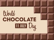 World Chocolate Day illustration. World Chocolate Day.11 July. Ð¡hocolate bars with text inside. Design for poster, banner, greeting card. Vector color vector illustration