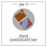 World Chocolate Day, July 11. Vector illustration for you design, card, banner, poster and calendar Royalty Free Stock Image