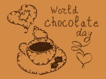 World Chocolate Day. July 11. Postcard with chocolate cakes and inscription.  vector illustration