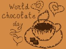 World Chocolate Day. July 11. Postcard with chocolate cakes and inscription.  stock illustration