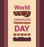 World Chocolate Day. Vector illustrotion. 11 july. Vrtical background. Brown color Royalty Free Stock Photos