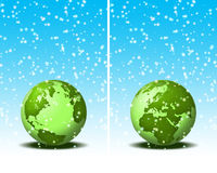World in christmas. World illustration. Two globe illustrations. snowing on world Royalty Free Stock Image