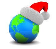 World christmas. 3d illustration of earth globe with christmas hat, over white background royalty free illustration