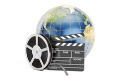 World cinema concept, 3D rendering. On white background Stock Photos