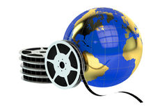 World cinema concept. Film reels and globe, world cinema concept isolated on white background Stock Photography